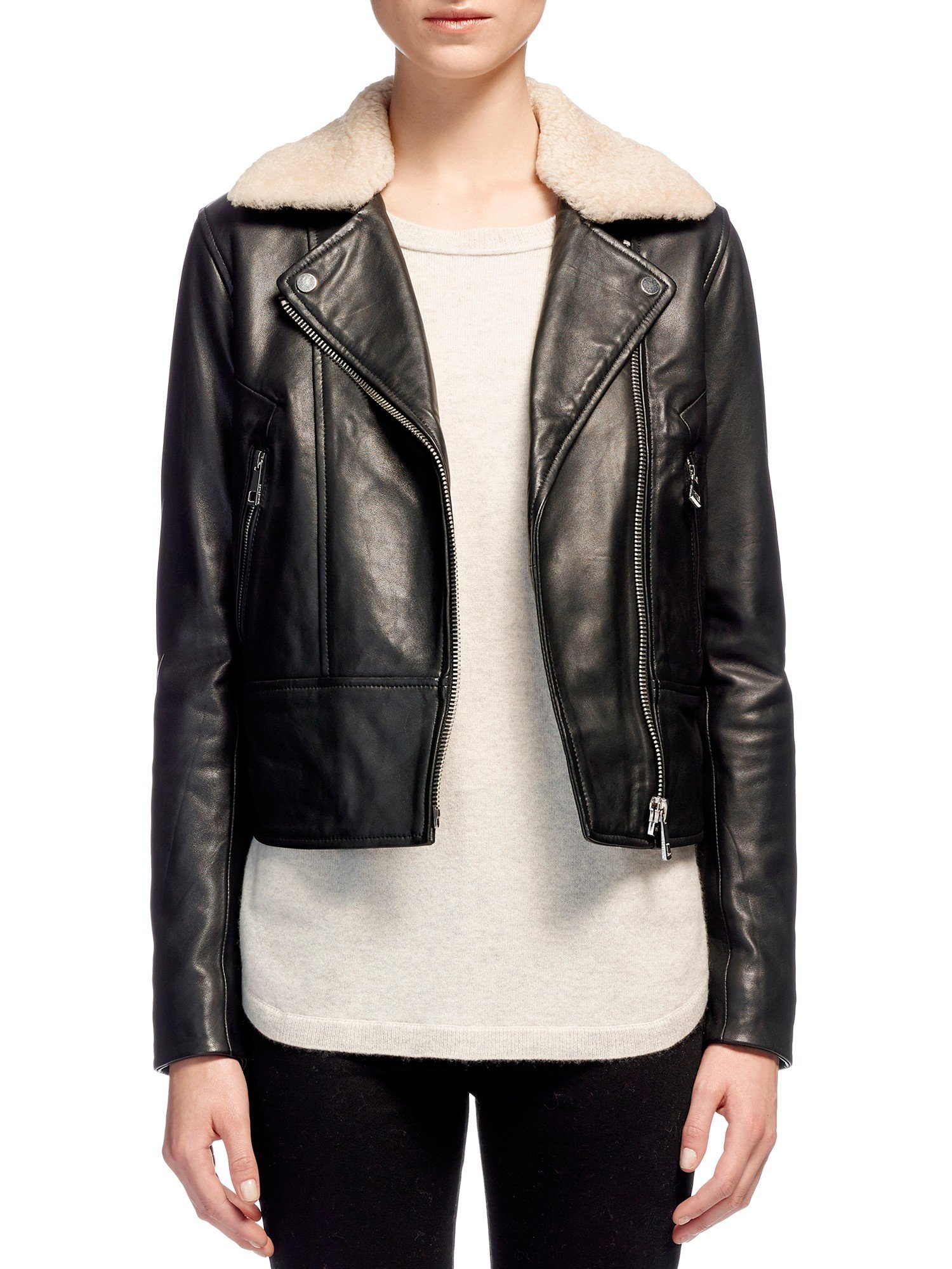 Lyst Whistles Fur Collar Leather Biker Jacket In Black