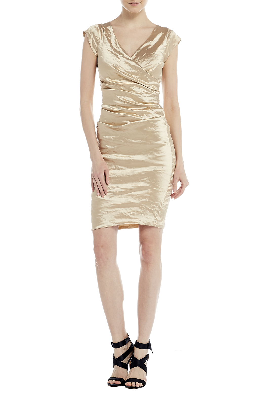 Nicole Miller Beckett Techno Metal Dress In Metallic Lyst