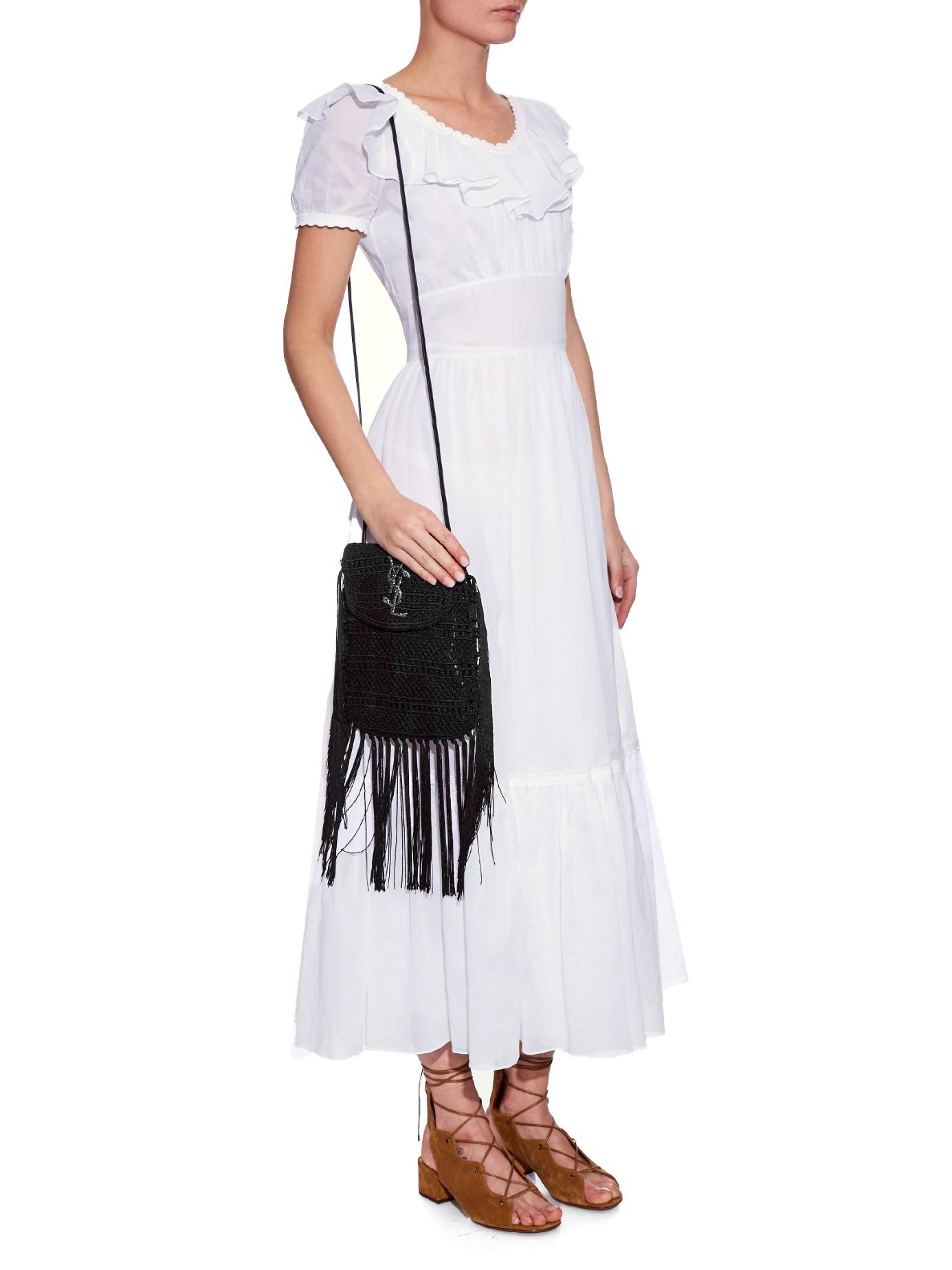 red ysl wallet - anita mini flat suede shoulder bag with fringe, black