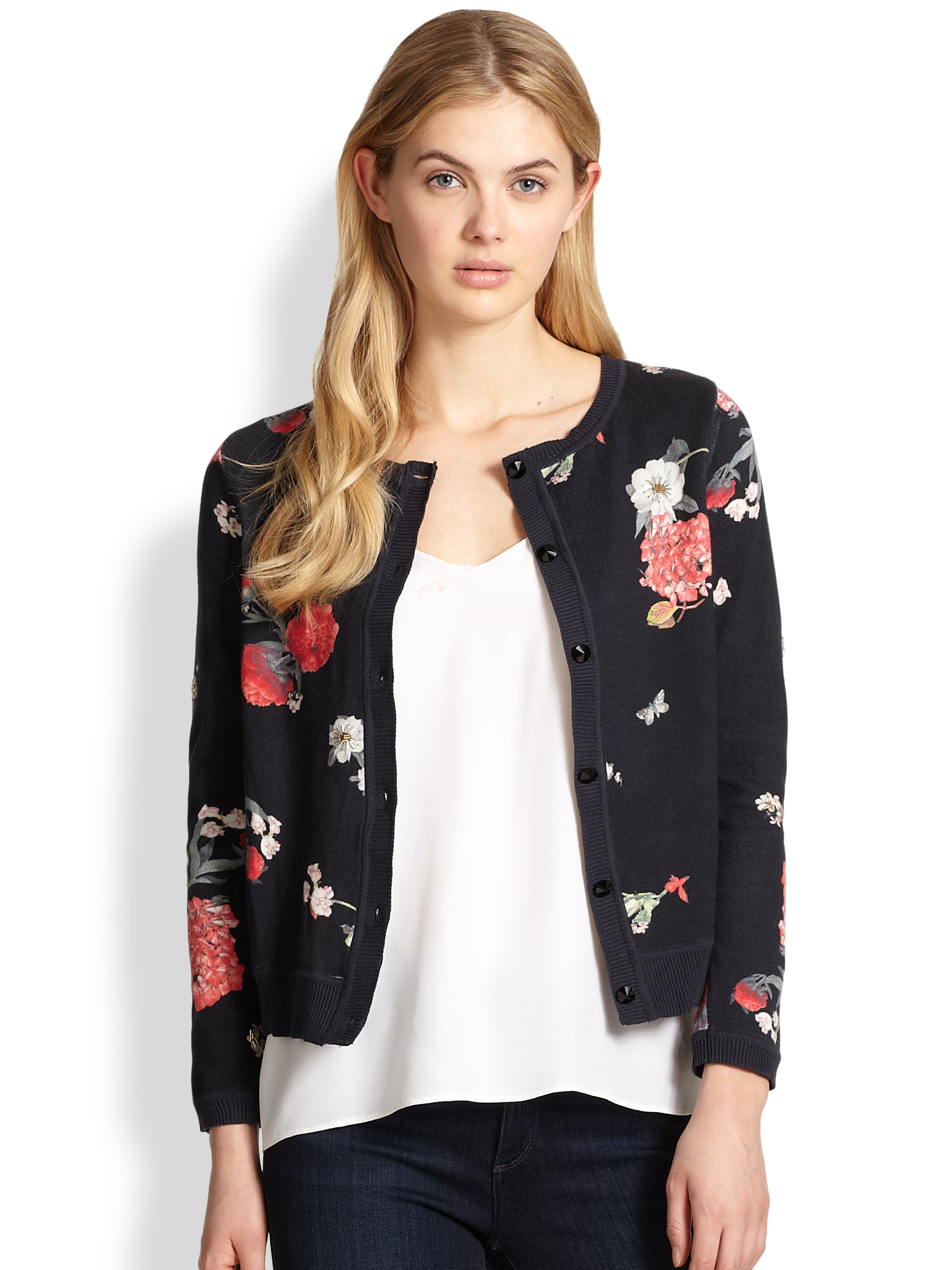 Alice   olivia Eva Beaded Floral Cardigan Sweater | Lyst
