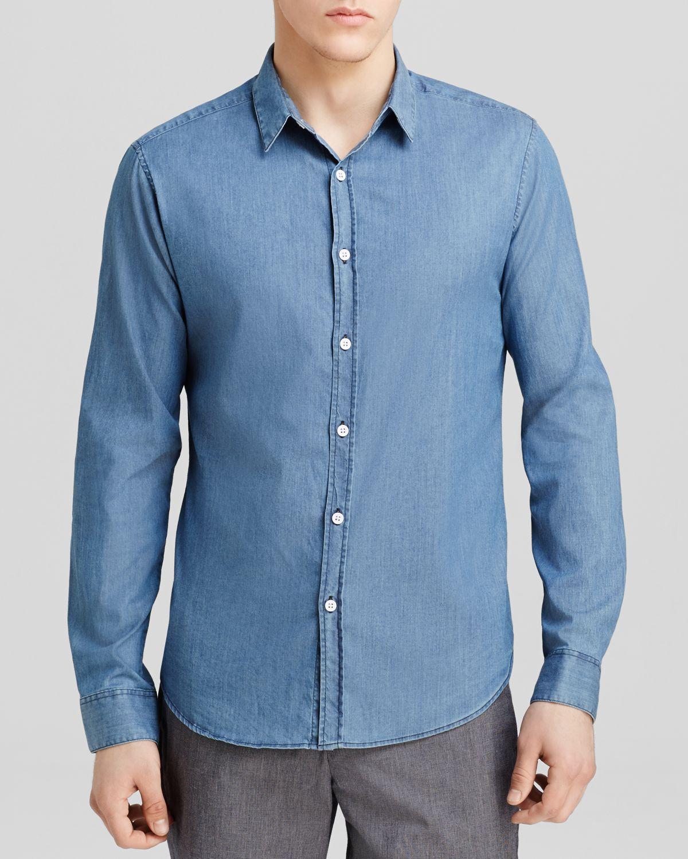 Theory Ryerson Zach Button Down Shirt Slim Fit In Blue