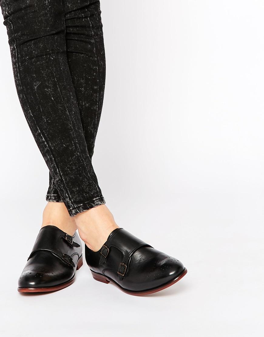 h by hudson h by hudson habit leather monk flat shoes in. Black Bedroom Furniture Sets. Home Design Ideas