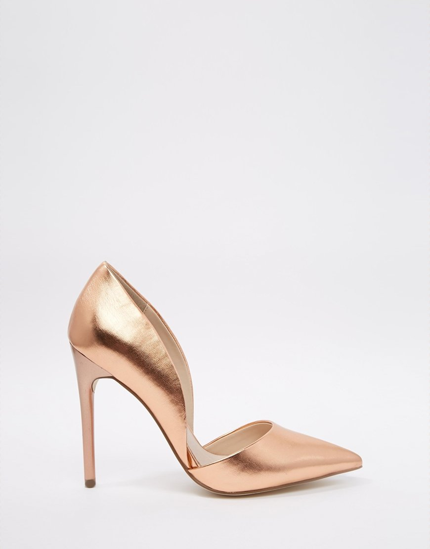 a8cd36be5de5 Lyst - Lost Ink Cleo Rose Gold High Heeled Court Shoes in Metallic