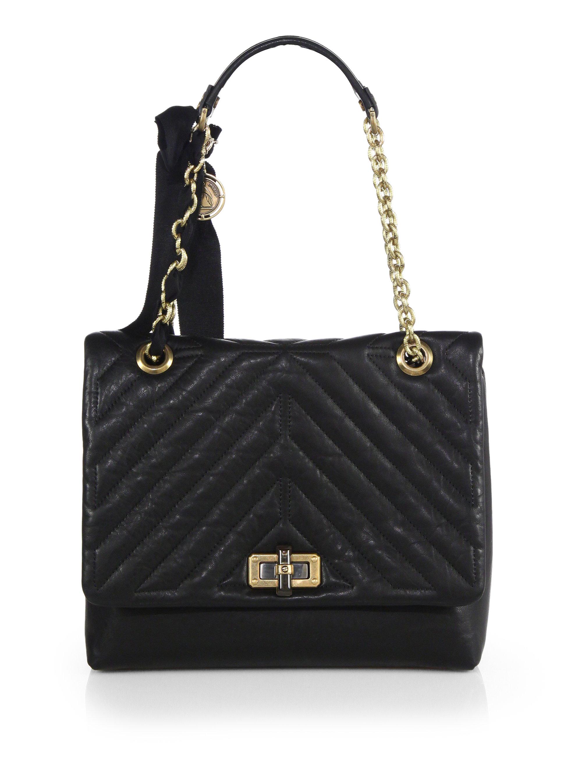 Lyst Lanvin Hy Medium Quilted Leather Shoulder Bag In Black