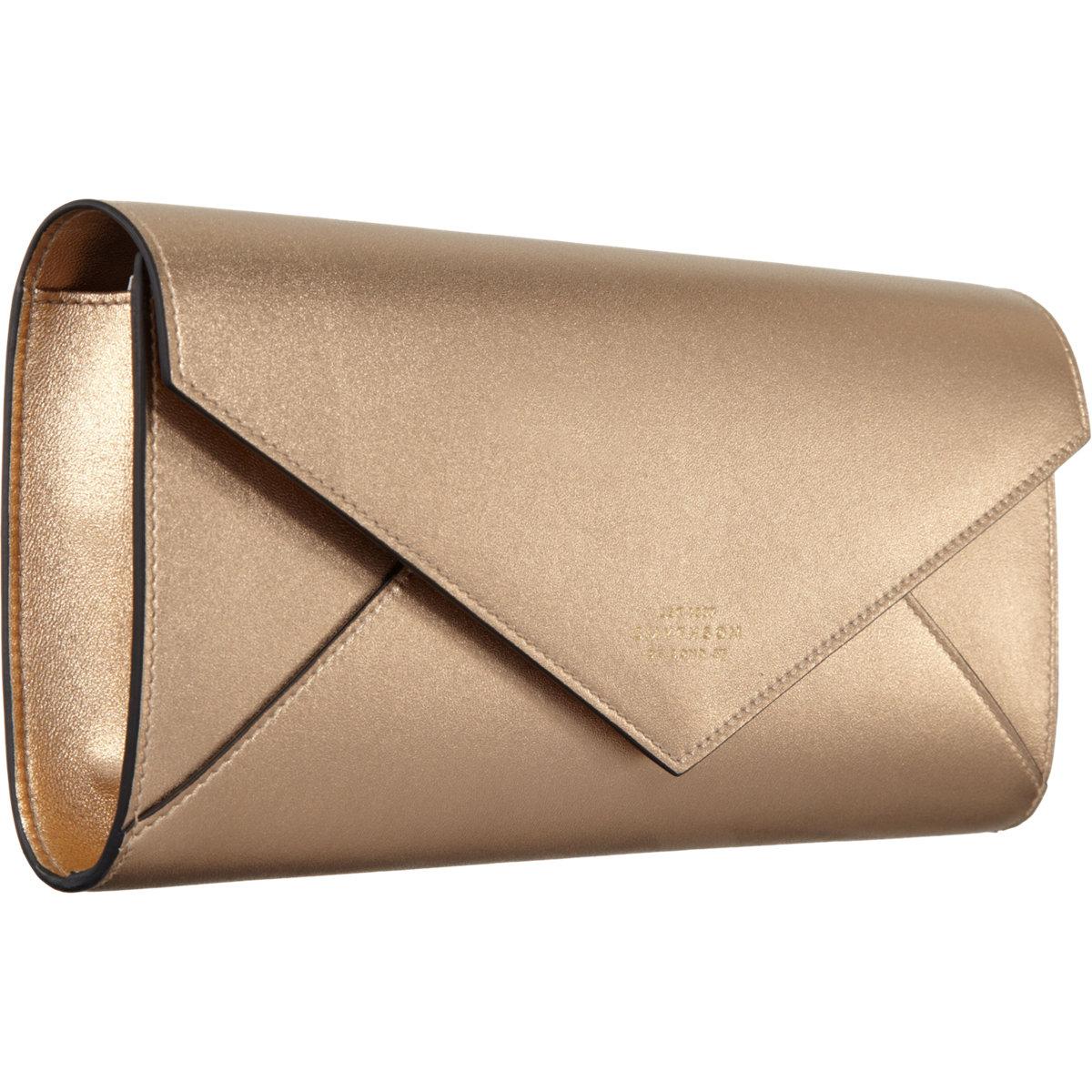 Smythson Envelope Clutch In Metallic Lyst