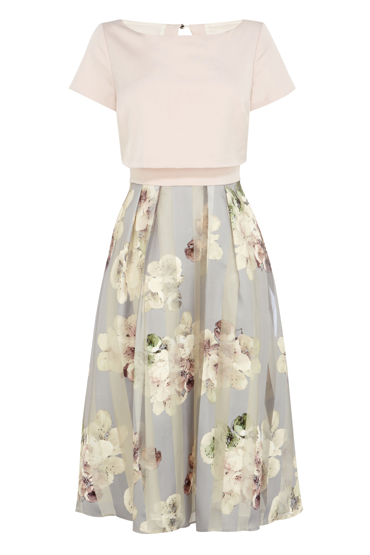 Coast Brea Floral Stripe Dress In White Lyst