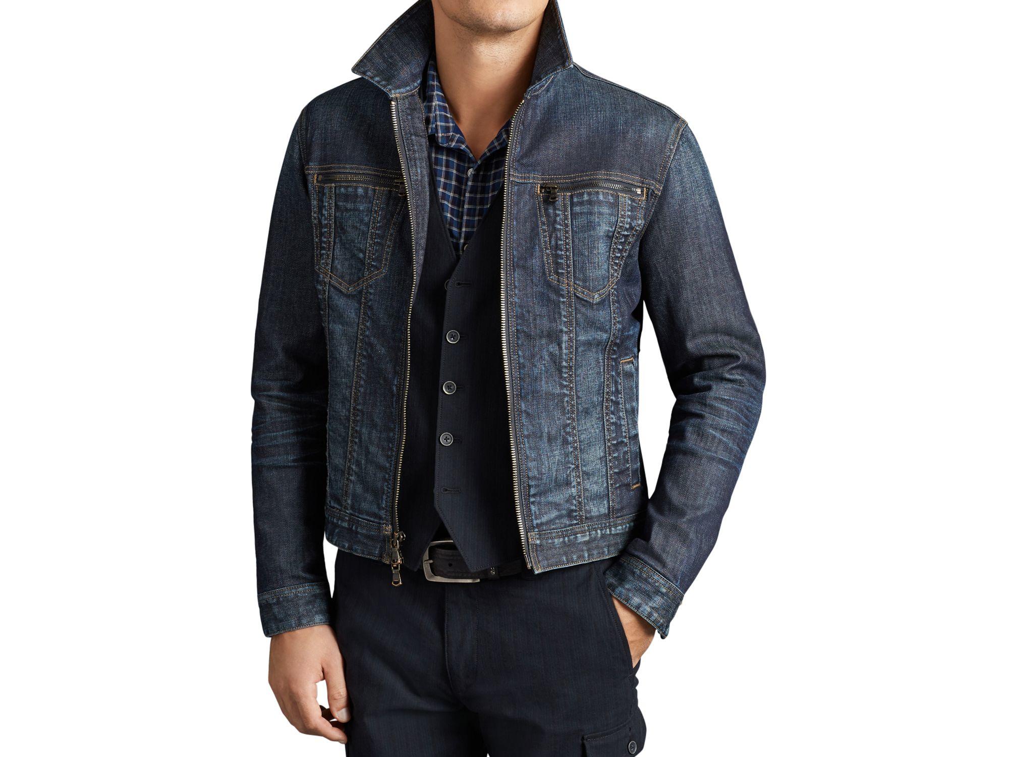 Lyst John Varvatos Zip Denim Jacket In Blue For Men