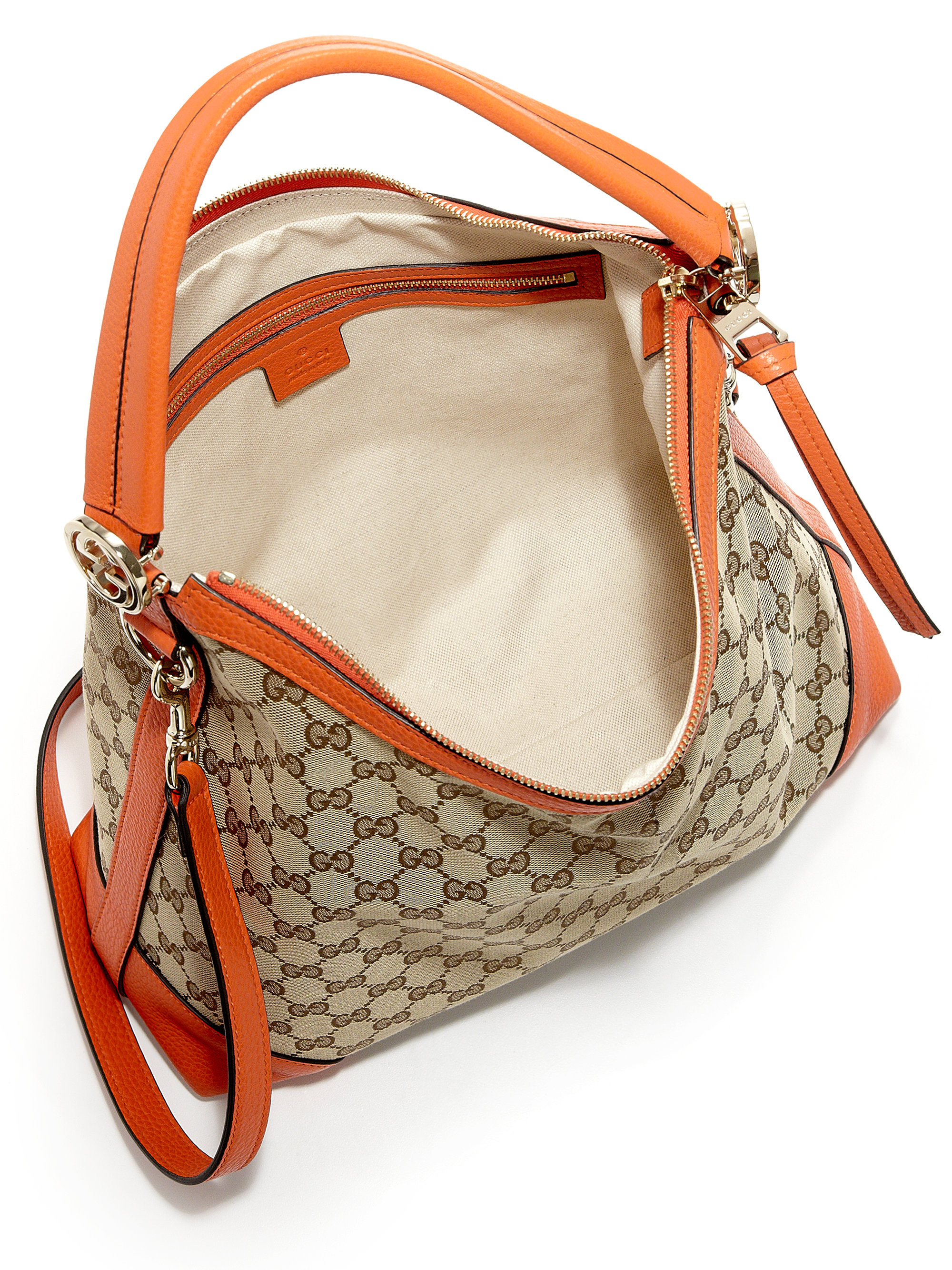Gucci Miss Gg Small Original Gg Canvas Hobo Bag in Orange | Lyst
