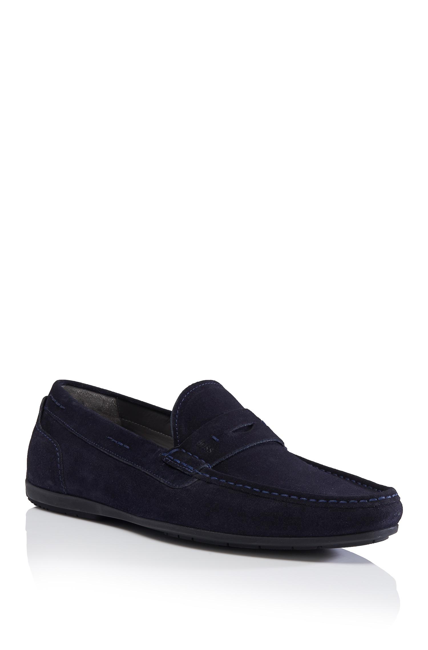 Men Armani Suede Moccasins Shoes Darkblue