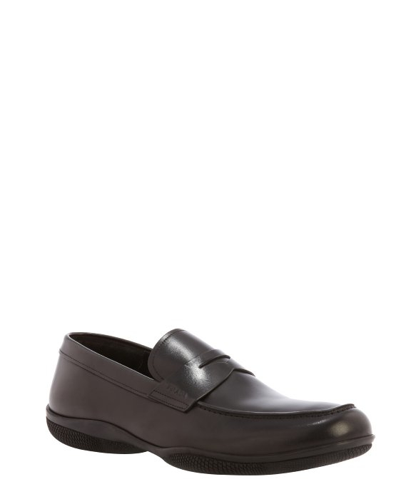 Prada Sport Black Leather Penny Loafers In Black For Men