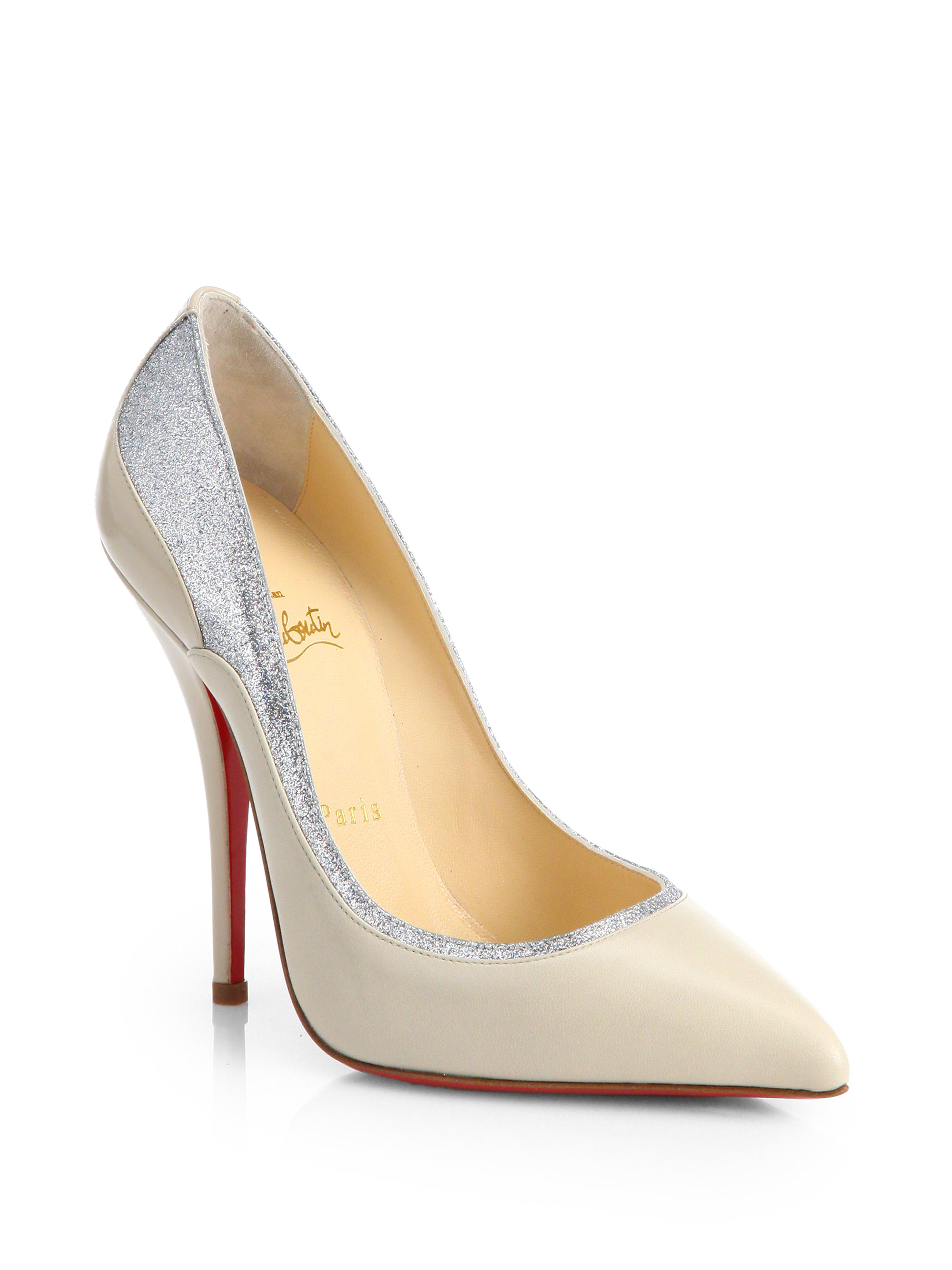 christian louboutin shoe prices - christian louboutin slingback pumps Silver-tone leather cut out ...