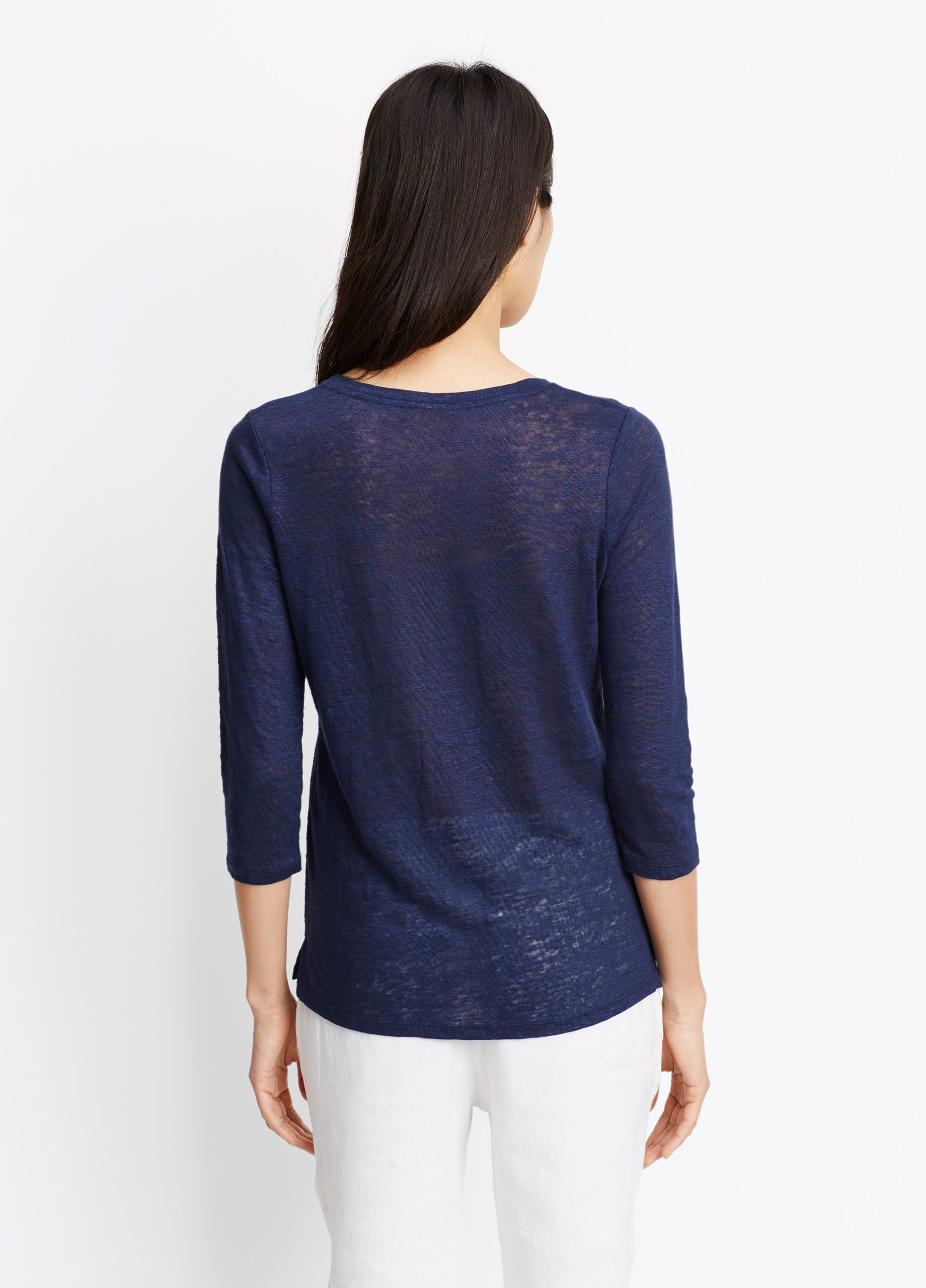 Vince linen three quarter sleeve tee in blue lyst for Vince tee shirts sale