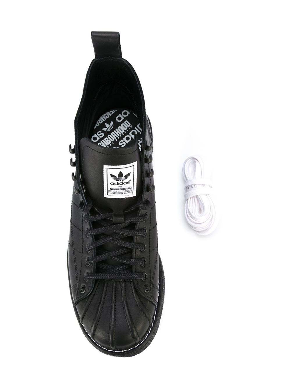 Black Lace-Up Leather High-Top Sneakers