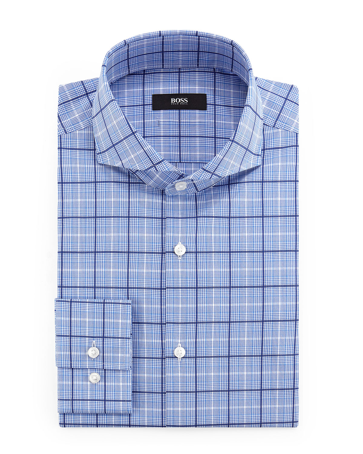lyst boss dwayne slim fit plaid dress shirt in blue for men. Black Bedroom Furniture Sets. Home Design Ideas