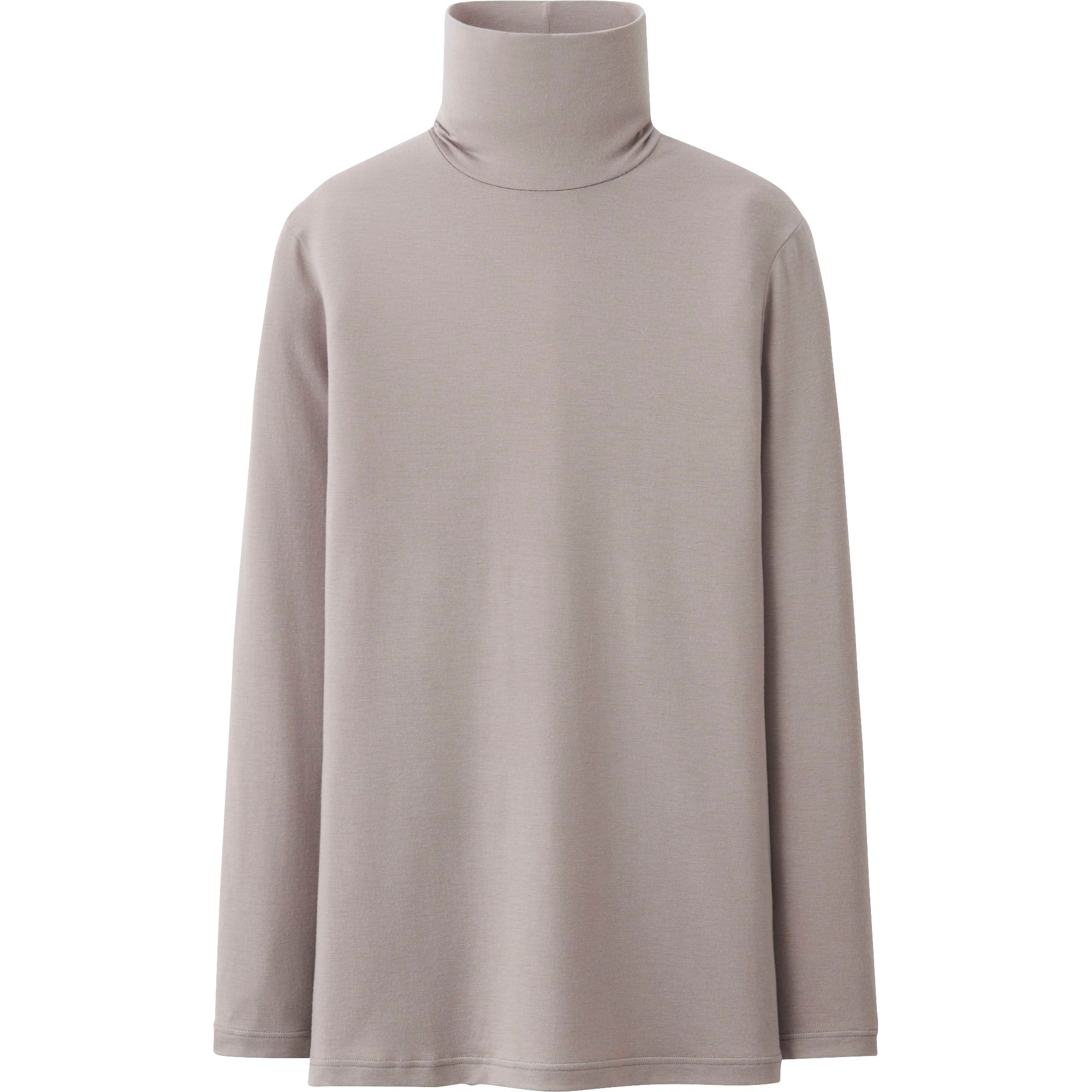 Uniqlo Heattech Polo Neck Long Sleeve T Shirt In Gray For