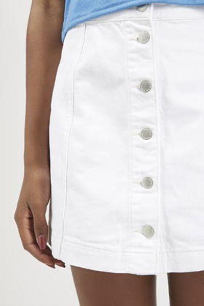 topshop moto denim button front a line skirt in
