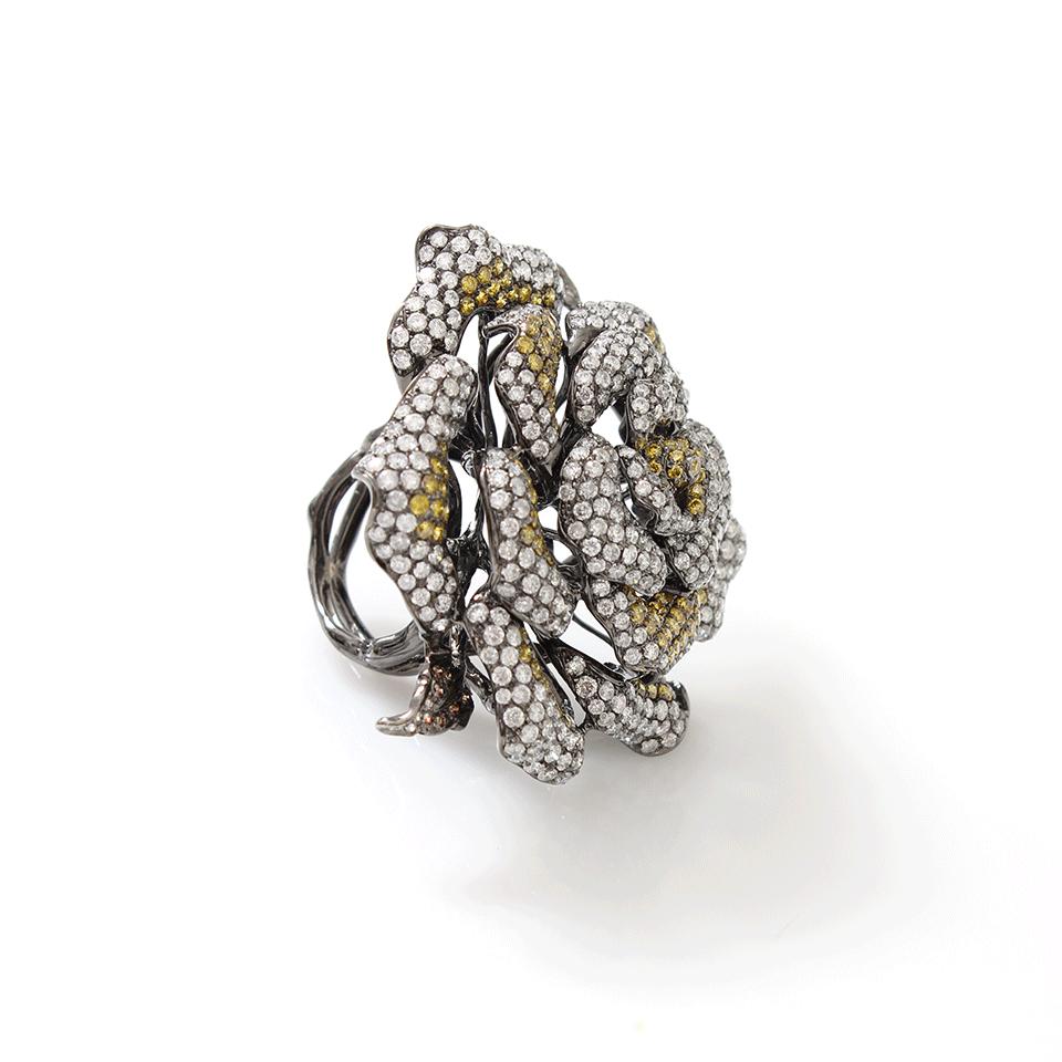 Wendy Yue Diamond Flower Ring in Yellow