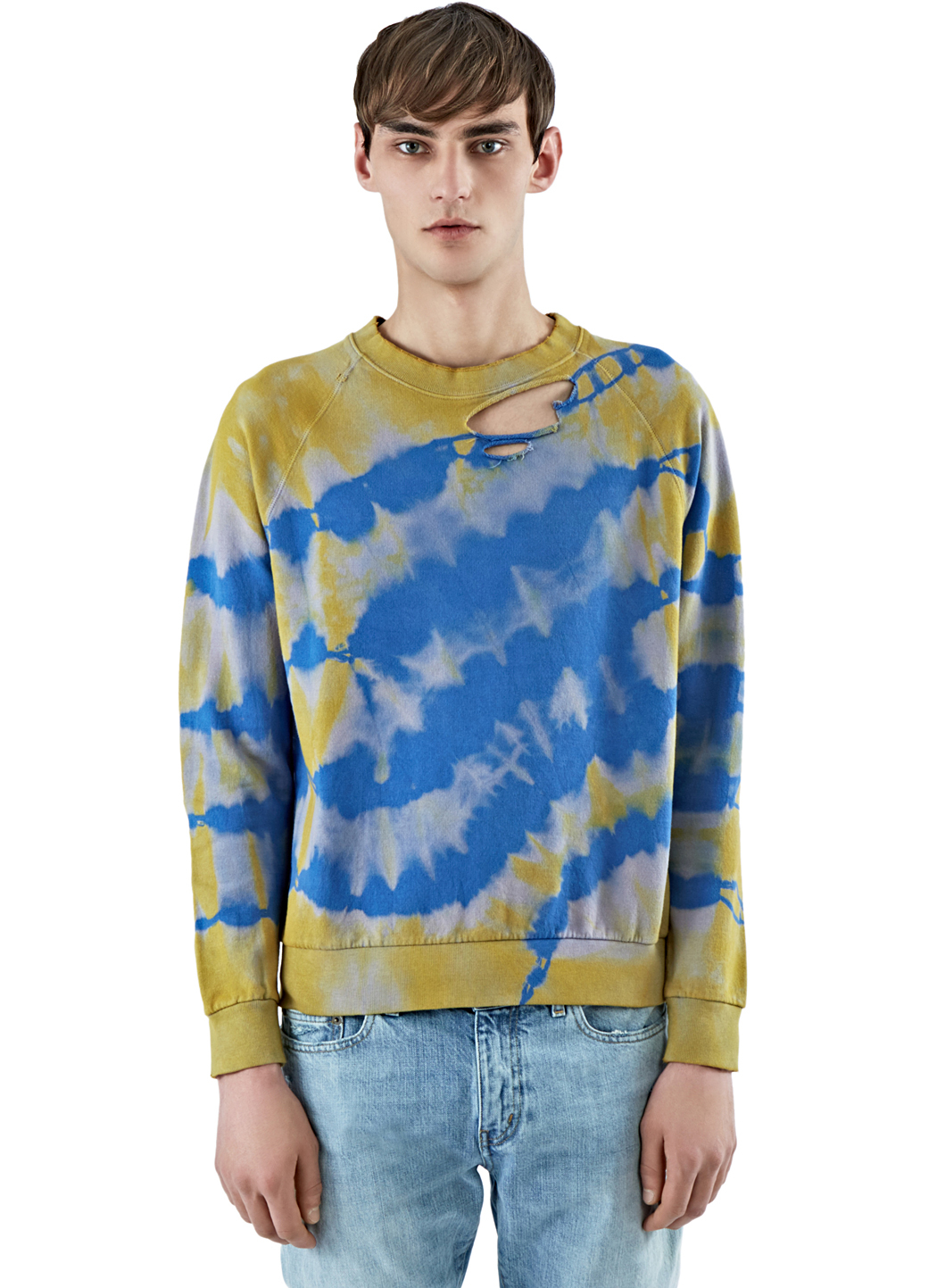 Saint laurent Men's Tie Dye Sweater In Yellow And Blue in Blue for ...