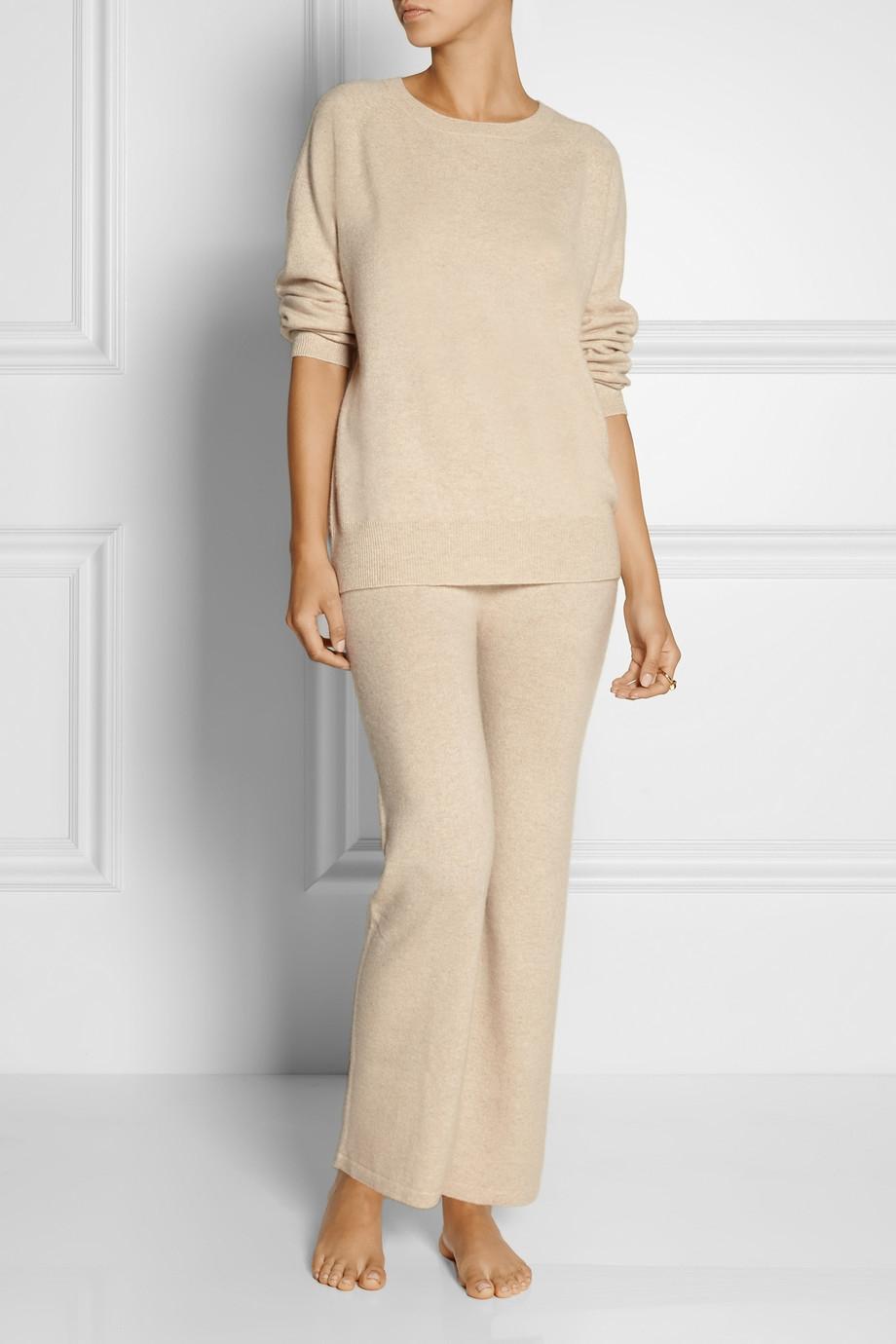 Madeleine Thompson Martha Cashmere Pajama Set In White - Lyst-6510