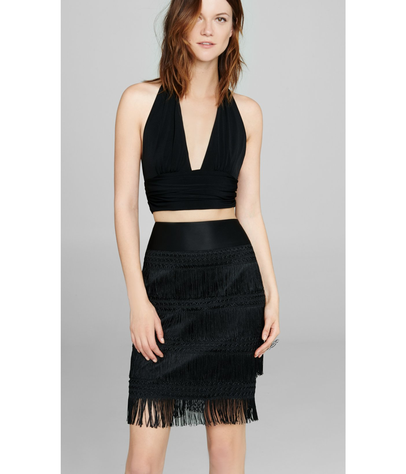 Express Plunging V-neck Halter Crop Top in Black (PITCH BLACK) | Lyst