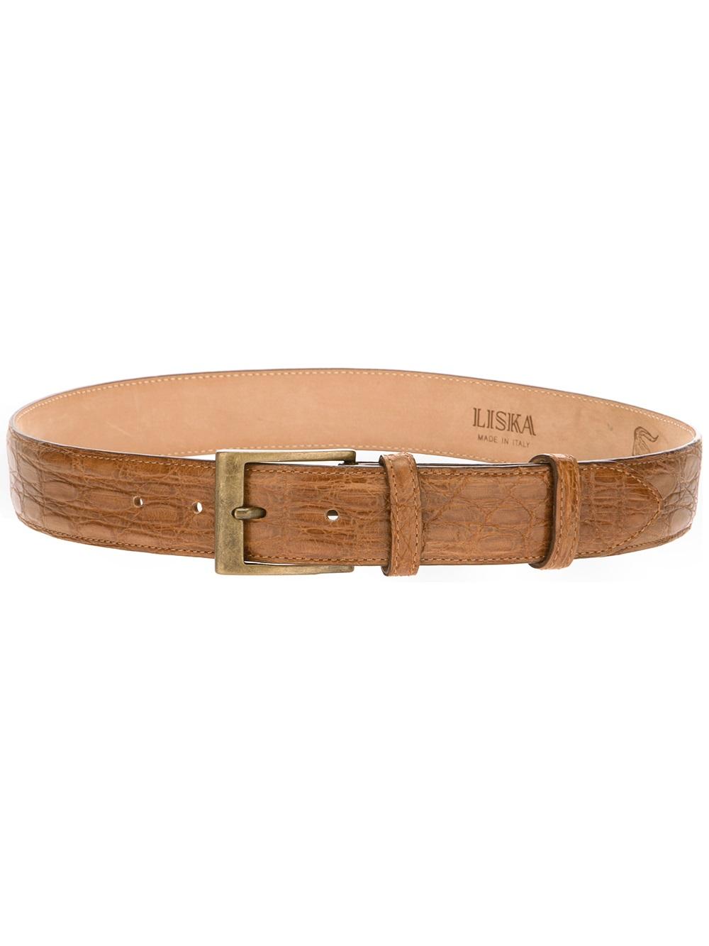 liska crocodile leather belt in brown neutrals lyst