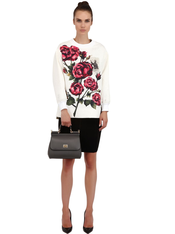 5a637afdb90e Lyst - Dolce   Gabbana Medium Sicily Dauphine Leather Bag in Gray