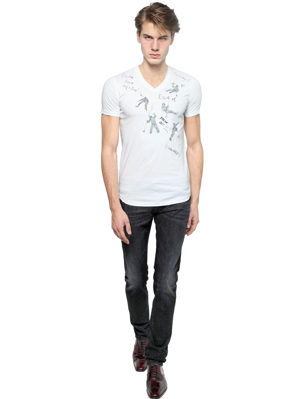Lyst dsquared prisoners print slim fit cotton t shirt for Slim fit white t shirt