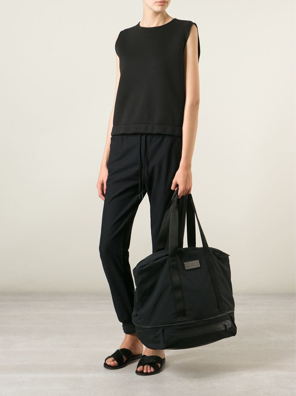 adidas by stella mccartney 39 iconic 39 tote in black black gunmetal lyst. Black Bedroom Furniture Sets. Home Design Ideas