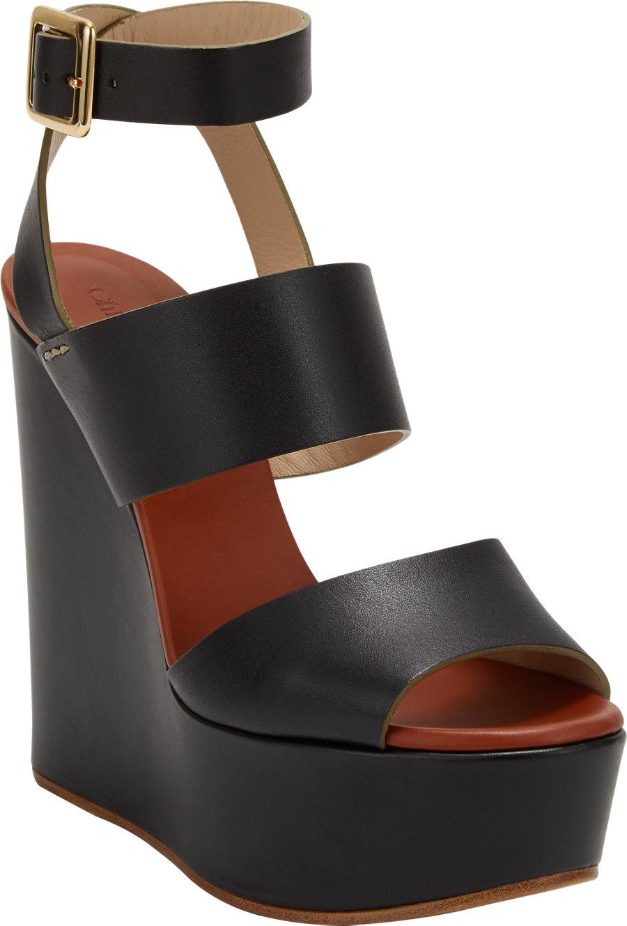 Chlo 233 Doublestrap Platform Wedge Sandals In Black Lyst