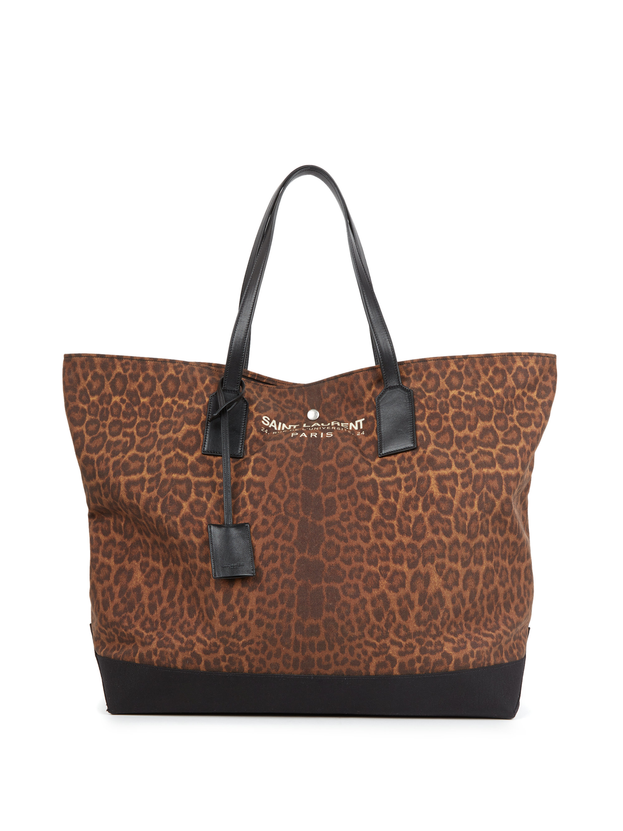 Saint laurent Leopard-print Canvas & Leather Beach Tote in Natural ...