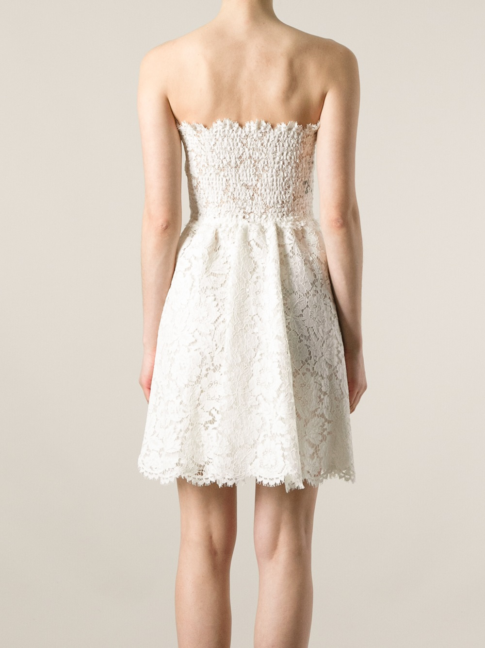 5717e54376 Lyst - Valentino Strapless Floral Lace Dress in White
