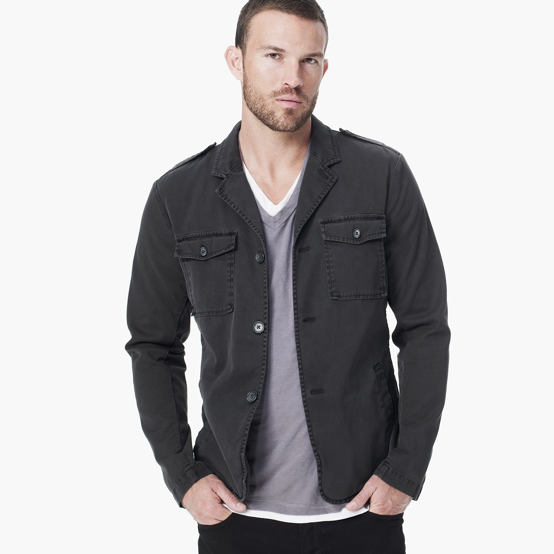 James perse Cotton Drill Military Blazer in Gray for Men | Lyst
