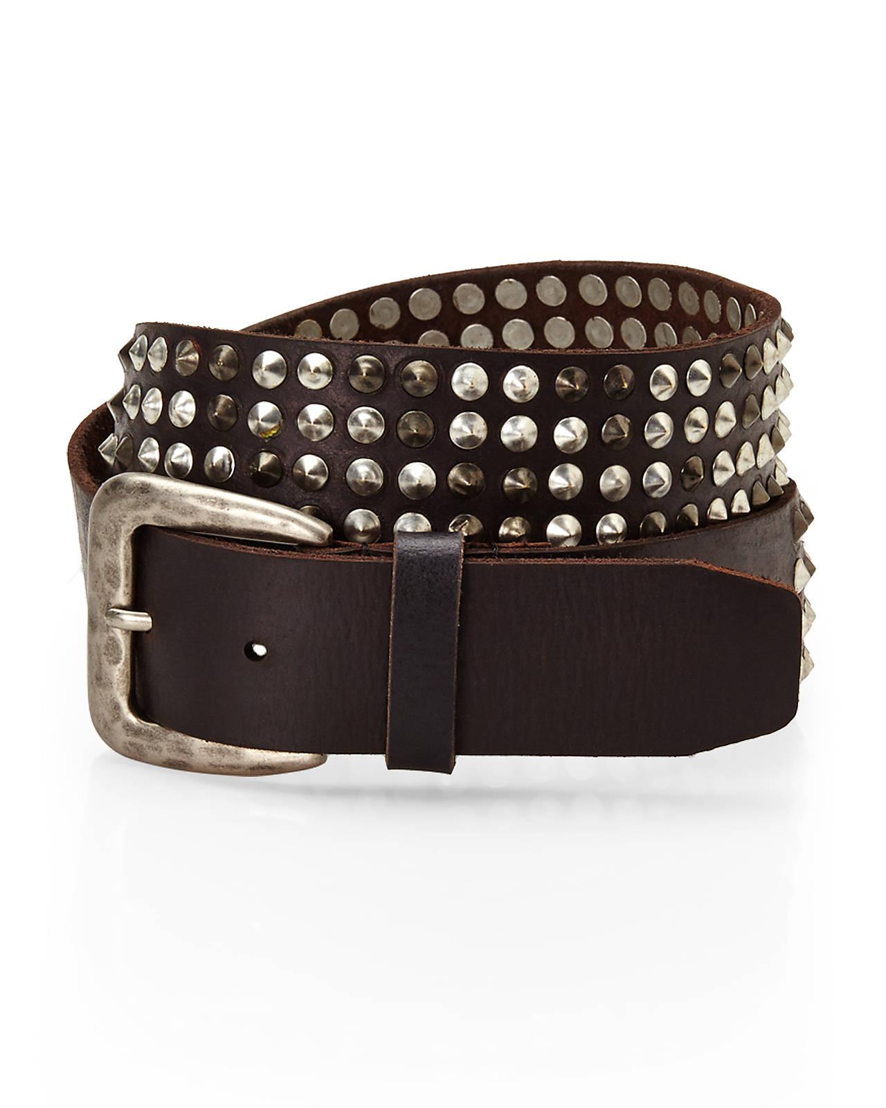 varvatos black studded leather belt in black for