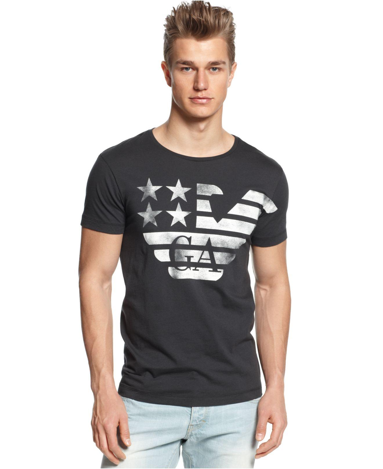 armani jeans eagle stripe t shirt in blue for men lyst. Black Bedroom Furniture Sets. Home Design Ideas