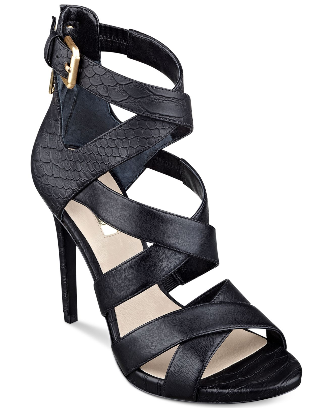 Guess Women S Abby Strappy Dress Sandals In Black Lyst