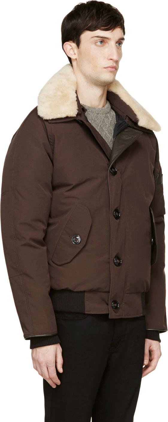 Canada Goose coats replica shop - Canada goose Brown Shearling Collar Foxe Bomber Jacket in Brown ...