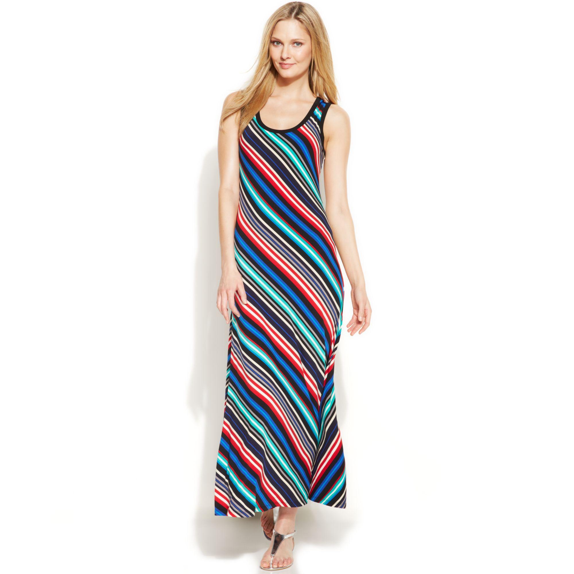 Multi coloured striped maxi dress