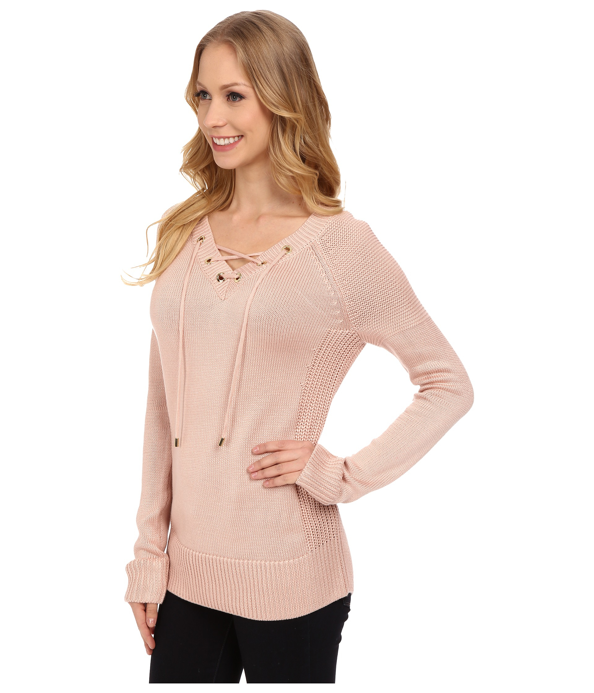 Calvin klein Lace Up V-neck Sweater in Pink | Lyst