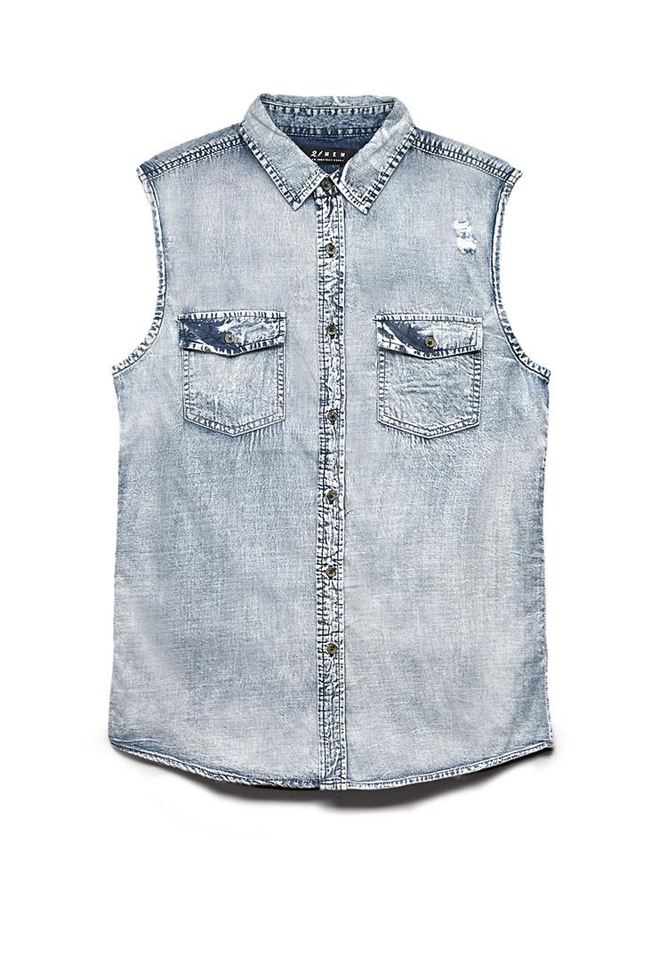 Lyst Forever 21 Sleeveless Denim Shirt In Blue For Men