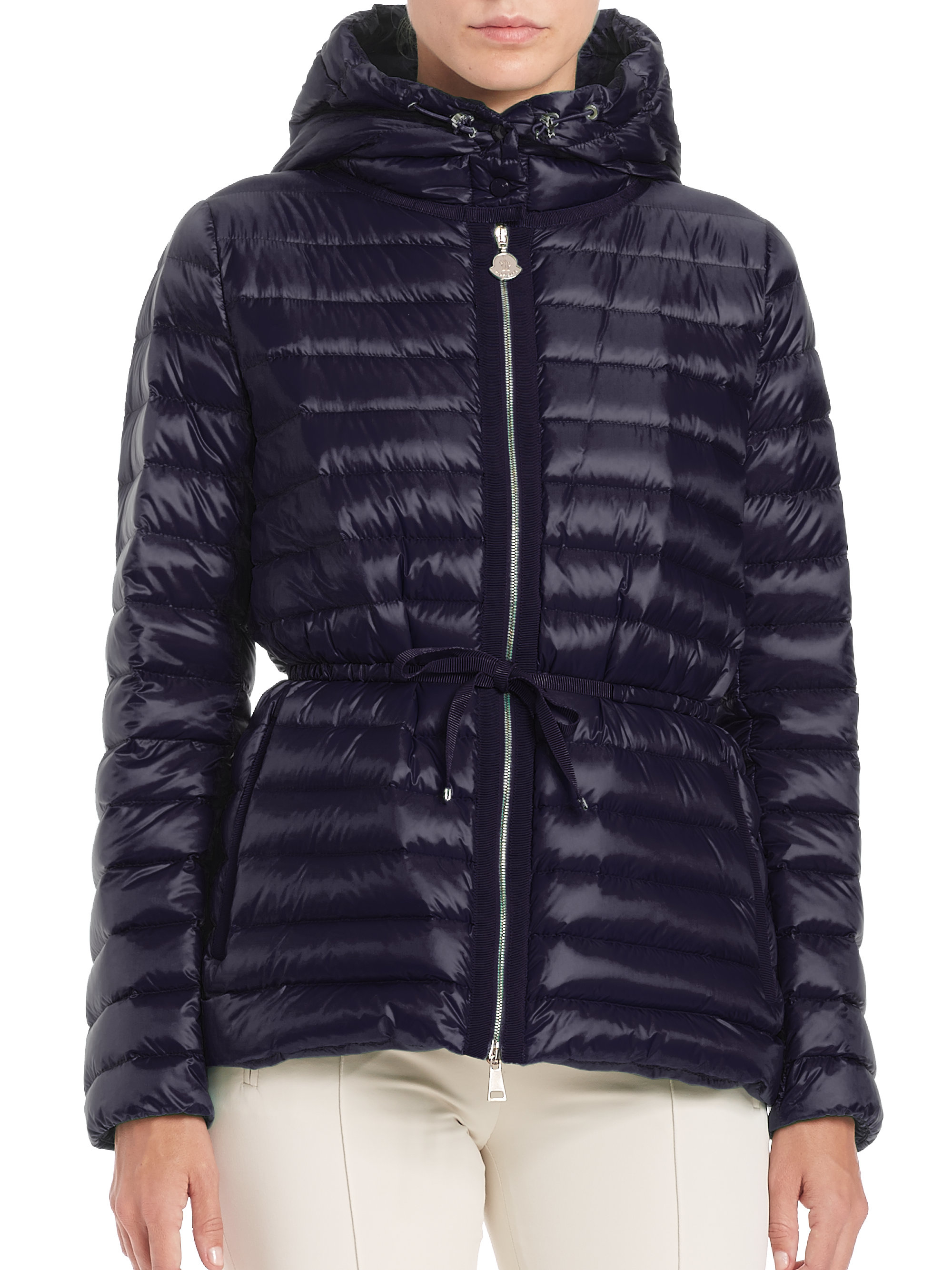 lyst moncler raie quilted down jacket in blue. Black Bedroom Furniture Sets. Home Design Ideas