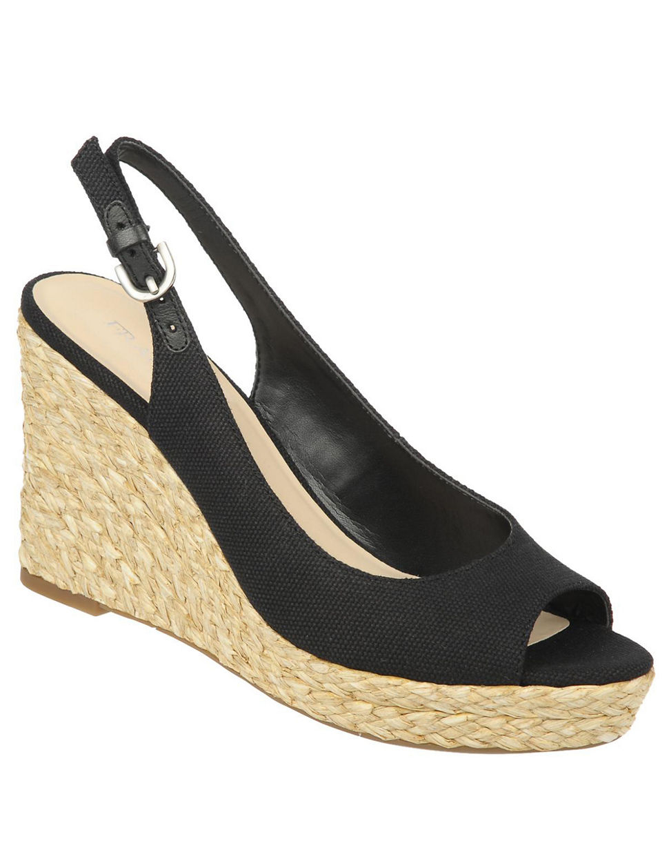 franco sarto rory canvas slingback wedge sandals in black