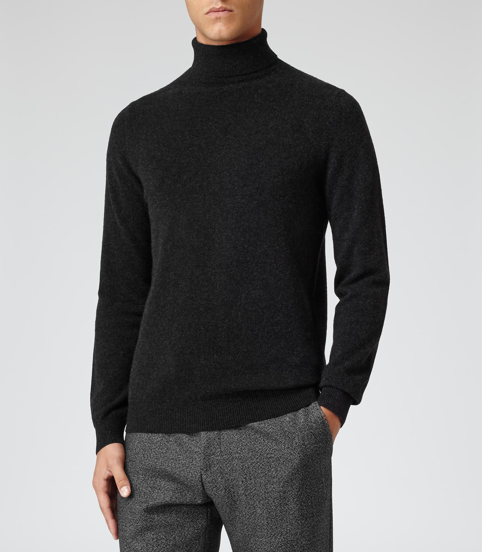 54755c246a5 Reiss Gray Swan Cashmere Roll Neck Jumper for men