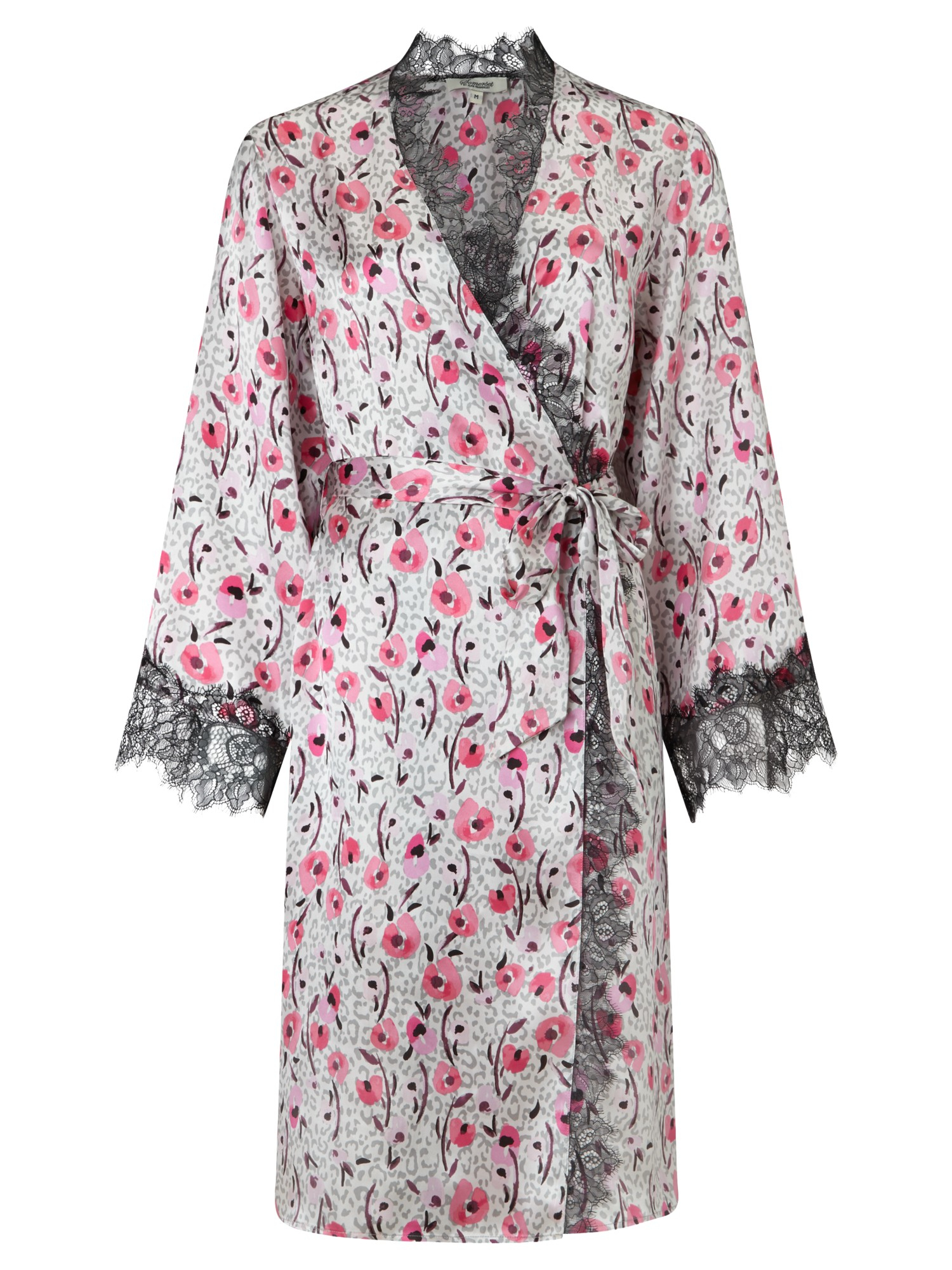 Somerset by Alice Temperley Silk Floral Animal Kimono Robe in Pink