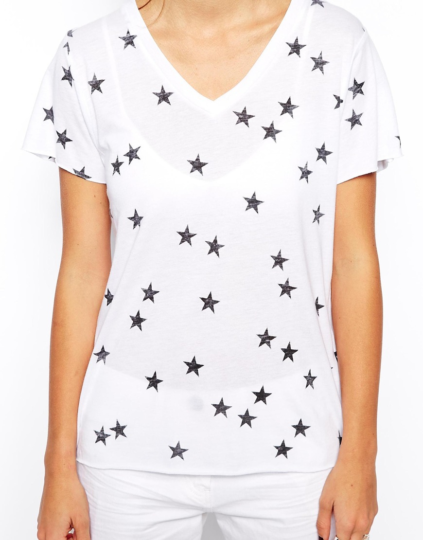 Lyst zoe karssen t shirt with all over star print in white for All over printing t shirts