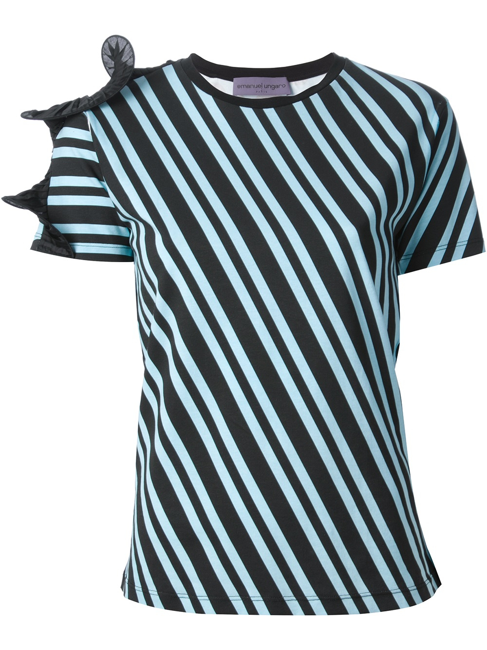 Lyst emanuel ungaro striped polka dot top in green for Striped and polka dot pumpkins