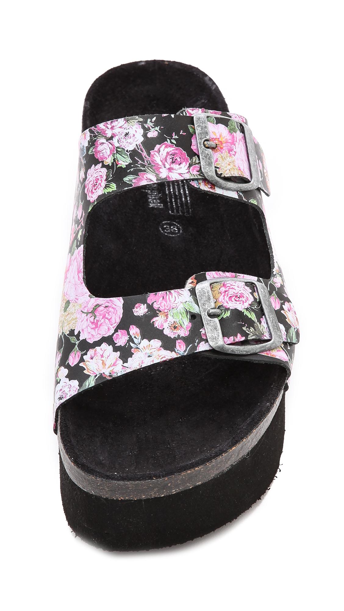 Jeffrey Campbell Aurelia Platform Sandals Black Floral Lyst