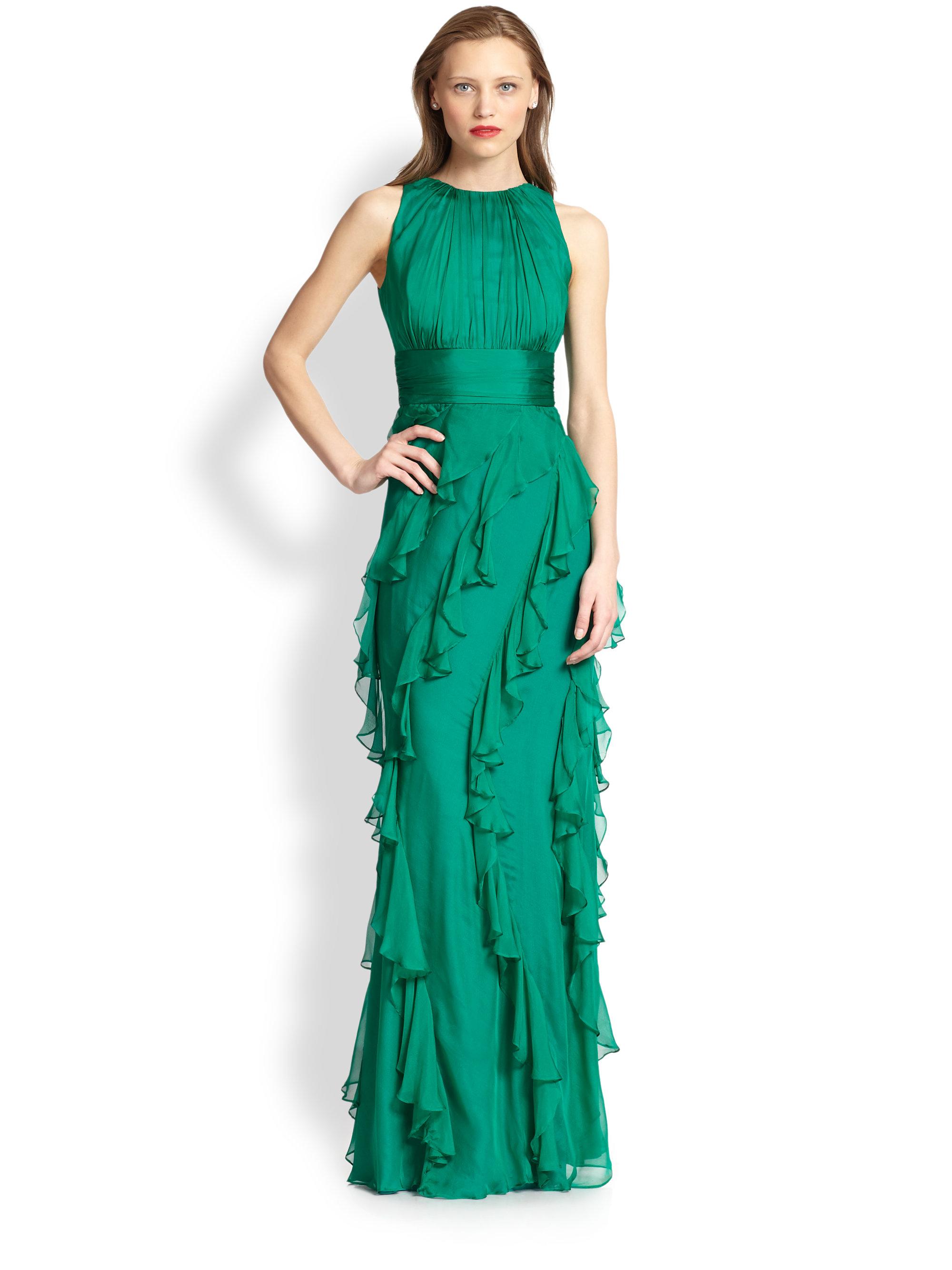 Lyst - Badgley Mischka Silk Ruffle Gown in Green