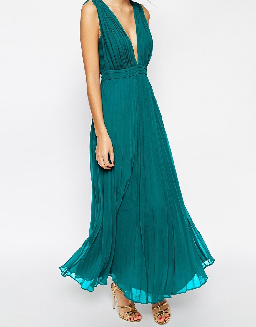 Lyst - Asos Petite Wedding Deep Plunge Super Full Pleated Maxi Dress ...