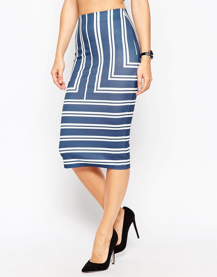 asos pencil skirt in engineered stripe in blue lyst