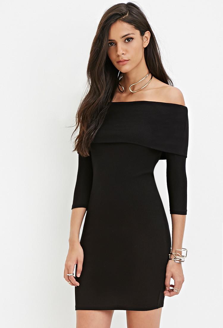 c070de2268e Forever 21 Off-the-shoulder Sweater Dress in Black - Lyst